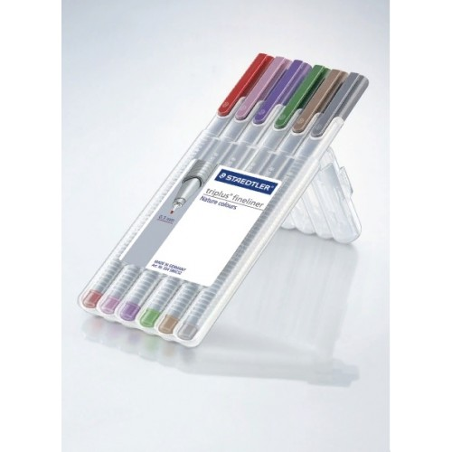 Набор капиллярных ручек Staedtler Triplus, 6 цветов, пенал-подставка, арт.ST334SB6CS2