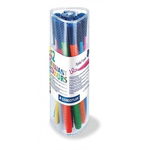 Набор фломастеров Staedtler Triplus Color, 12 цветов, треугольный пенал, арт.ST323PR12