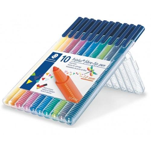 Набор фломастеров Staedtler Triplus Color, 10 цветов, пенал, арт.ST323SB10