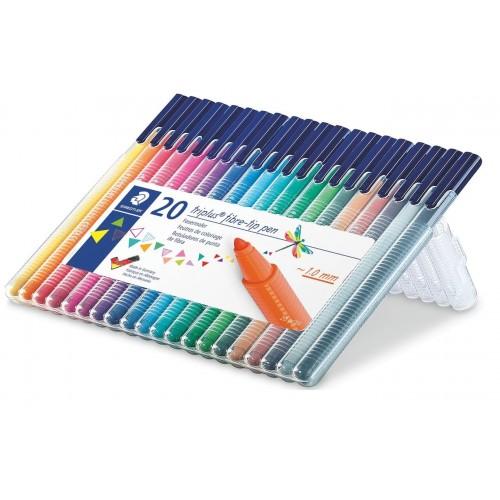 Набор фломастеров Staedtler Triplus Color, 20 цветов, пенал, арт.ST323SB20