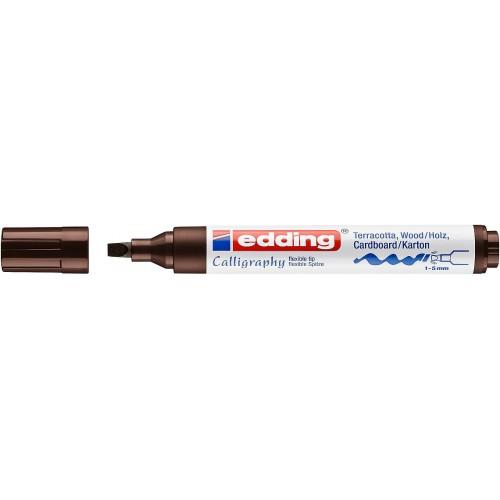 Маркер каллиграфический Edding (Эддинг) 1455, наконечник гибкий, 1-5 мм, темно-коричневый 018