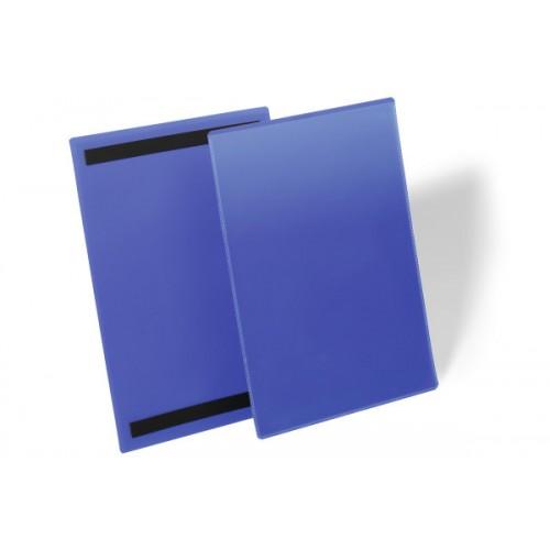 Карман для маркировки Durable, А4  вертикальный, c магнитом, синий, арт.D1744-07