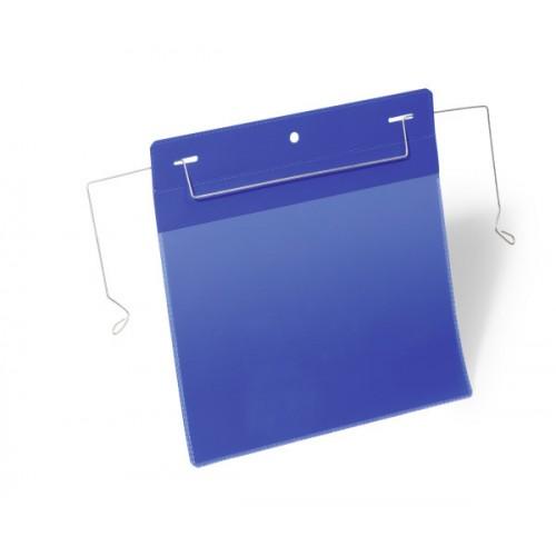 Карман для маркировки Durable, с проволочным фиксатором, А5, горизонтальный, синий, арт.D1752-07