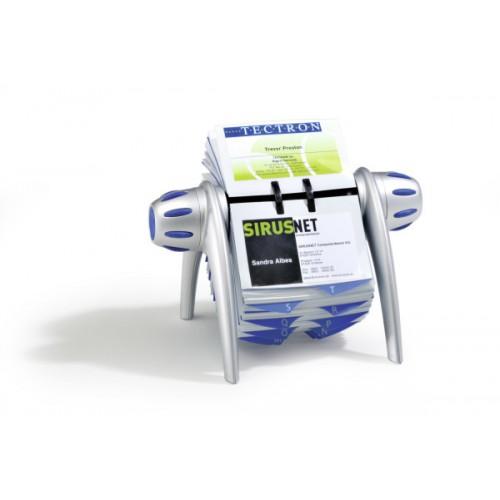 Визитница картотека вращающаяся Durable Visifix Flip, 200 карточек, серебро, арт.D2417-23