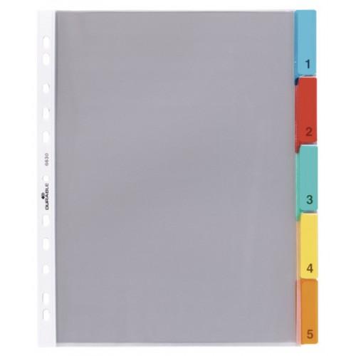Карманы разделители пластиковые Durable в виде файла вставки на 5 разделов, арт.D6630-19