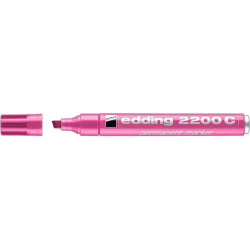 Маркер перманентный Edding (Эддинг) 2200, клиновидный наконечник, заправляемый, розовый 009