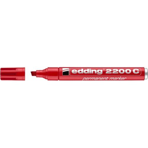 Маркер перманентный Edding (Эддинг) 2200, клиновидный наконечник, заправляемый, красный 002