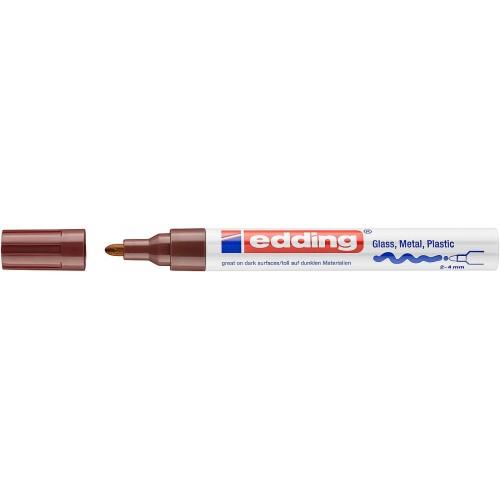 Маркер глянцевый лаковый Edding (Эддинг) 750, круглый наконечник, 2-4 мм, коричневый 007