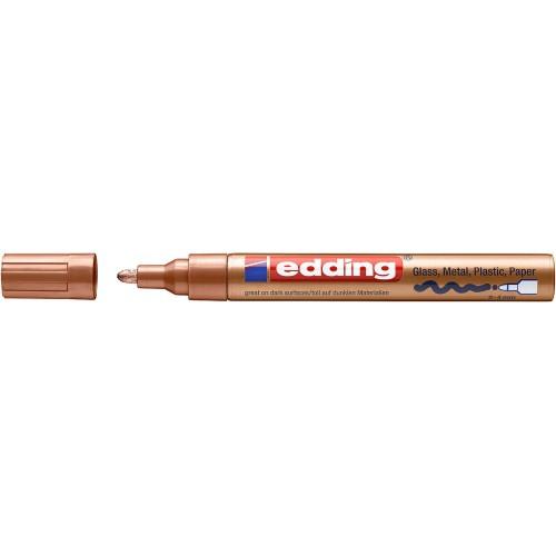 Маркер глянцевый лаковый Edding (Эддинг) 750, круглый наконечник, 2-4 мм, медный 055