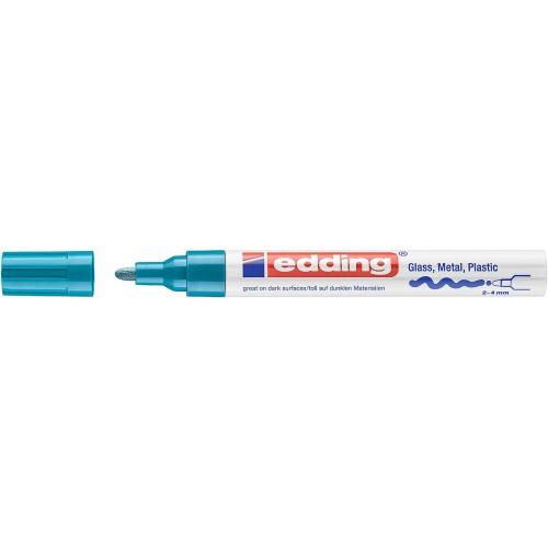 Маркер глянцевый лаковый Edding (Эддинг) 750, круглый наконечник, 2-4 мм, голубой 010