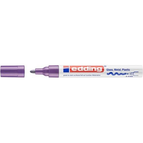 Маркер глянцевый лаковый Edding (Эддинг) 750, круглый наконечник, 2-4 мм, фиолетовый 008