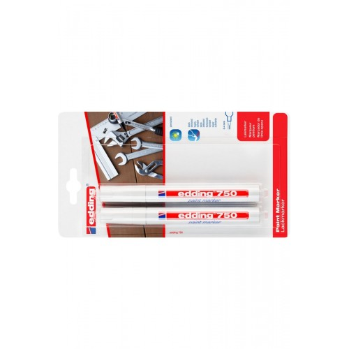 Маркер лаковый глянцевый Edding (Эддинг) 750 Industry, круглый наконечник, 2-4 мм, белый 049, 2 шт, блистер