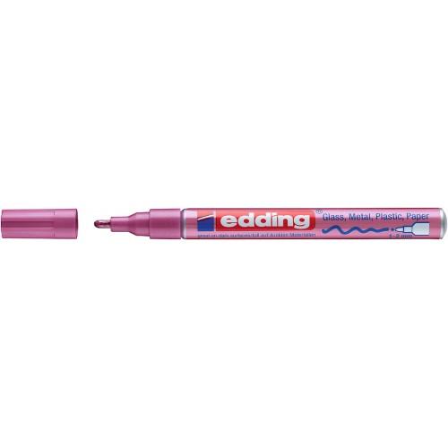 Маркер лаковый глянцевый Edding (Эддинг) 751, круглый наконечник, 1-2 мм, розовый металлик 079