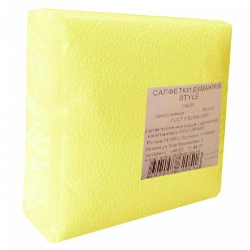 Салфетки бумажные 1-слойные 24х24 см, пастель желтые 75шт./уп.