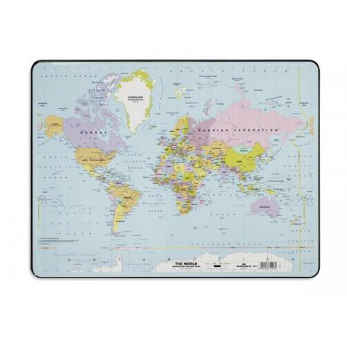 Настольное покрытие для стола Durable Карта мира, 40х60 см, прозрачное, арт.D7211-19