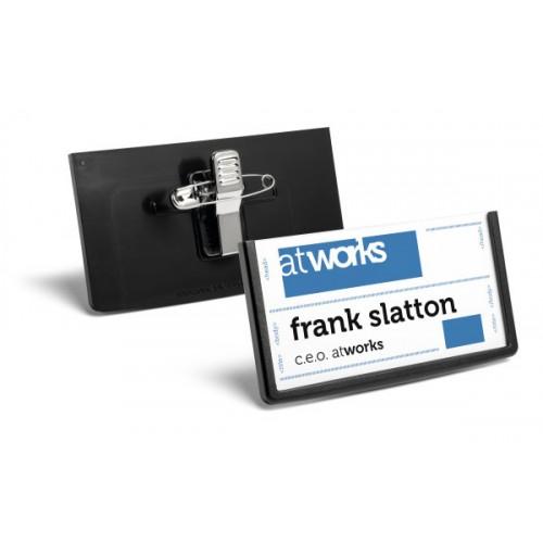 Бейдж Durable Frame с комбинированным клипом, 40x75 мм, черный, арт.D8503-01