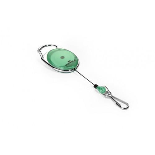 Держатель для бейджа с рулеткой Durable Style, с карабином, зеленый, арт.D8327-05