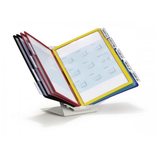 Демосистема настольная Durable Vario, A4, вращающаяся, с 10 панелями и табуляторами, ассорти, арт.D5579-00