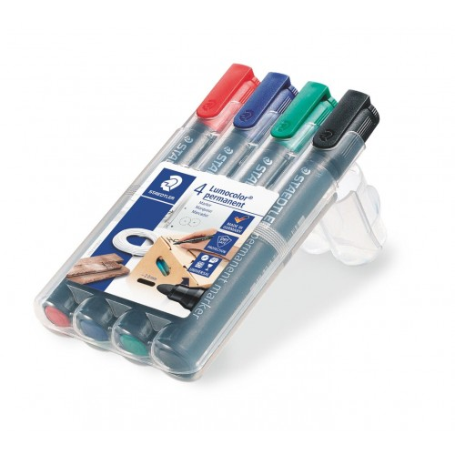 Набор перманентных маркеров Staedtler Lumocor, 2 мм, 4 цвета, арт.ST352WP4
