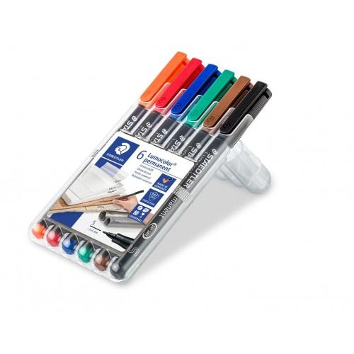 Набор перманентных маркеров Staedtler Lumocor, S, 6 цветов, в пластиковом пенале, арт.ST313WP6