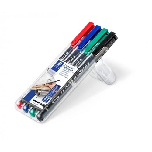 Набор перманентных маркеров Staedtler Lumocor, B, 4 цвета, в пластиковом пенале, арт.ST314WP4