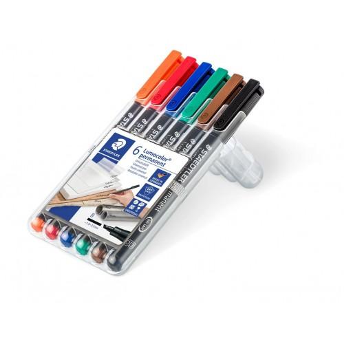 Набор перманентных маркеров Staedtler Lumocor, B, 6 цветов, в пластиковом пенале, арт.ST314WP6