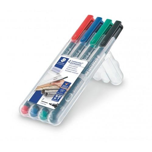 Набор перманентных маркеров Staedtler Lumocor, F, 4 цвета, в пластиковом пенале, арт.ST318WP4