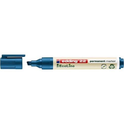 Маркер перманентный Edding (Эддинг) 22 EcoLine, клиновидный наконечник, 1-5 мм, синий 003