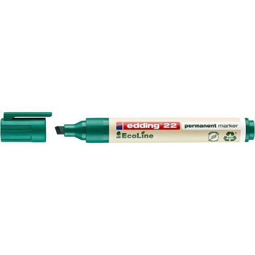 Маркер перманентный Edding (Эддинг) 22 EcoLine, клиновидный наконечник, 1-5 мм, зеленый 004