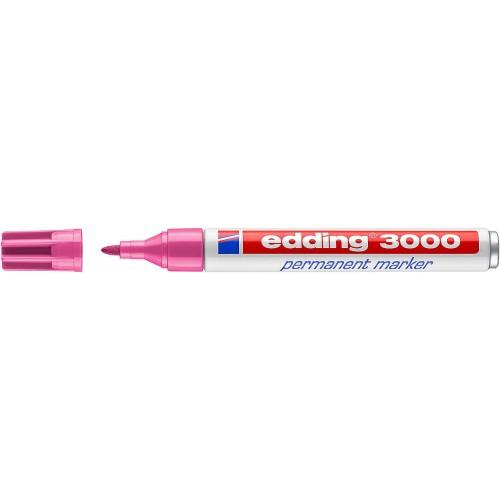 Маркер перманентный Edding (Эддинг) 3000, круглый наконечник, 1,5-3 мм, розовый 009