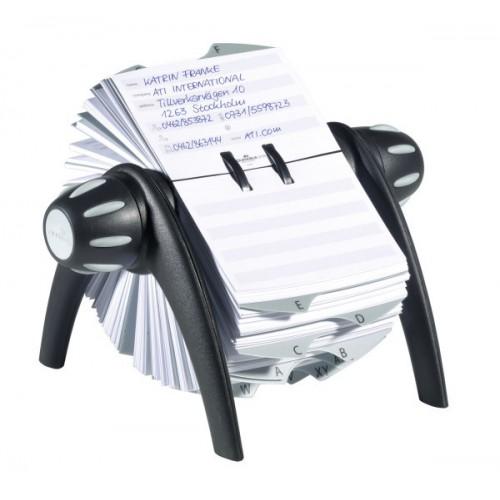 Визитница картотека вращающаяся Durable Telindex Flip, 200 карточек, черная, арт.D2416-01