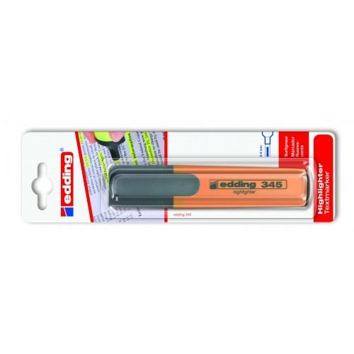 Маркер текстовыделитель Edding (Эддинг) 345, клиновидный наконечник, заправляемый, оранжевый 006, блистер