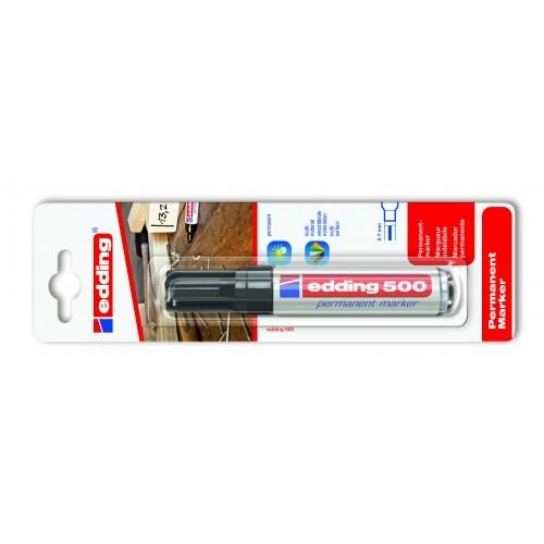 Маркер перманентный промышленный Edding (Эддинг) 500, клиновидный наконечник, 2-7мм, заправляемый,, блистер