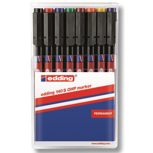 Набор маркеров для проекторных пленок Edding (Эддинг) 140S, круглый наконечник, 0,3 мм, 6 шт/уп