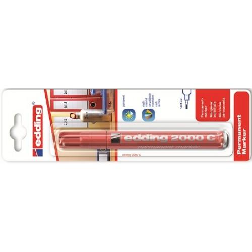 Маркер перманентный промышленный Edding (Эддинг) 2000С, круглый наконечник, 1,5-3 мм, заправляемый, красный 002, блистер