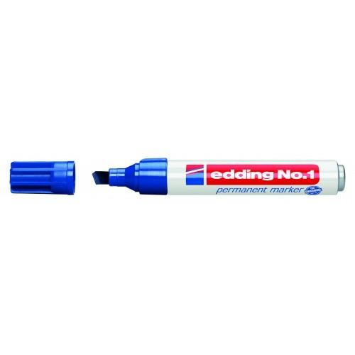 Маркер перманентный промышленный Edding (Эддинг) 1, клиновидный наконечник, 1-5 мм, синий 003