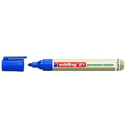 Маркер перманентный Edding (Эддинг) 21 EcoLine, круглый наконечник, 1,5-3 мм, синий 003