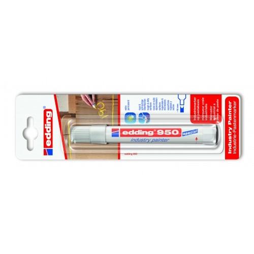 Маркер для промышленной графики Edding (Эддинг) 950, круглый наконечник, 10 мм, пигментная паста, белый 049, блистер