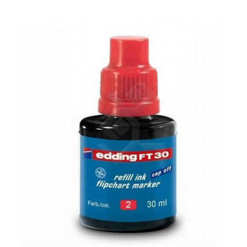 Чернила Edding (Эддинг) FT 30, 30 мл, на водной основе, красный 002, для заправки флипчарт маркеров 380, 383, 388