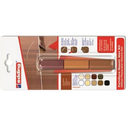 Воск промышленный для ремонта мебели Edding (Эддинг) 8902, вишня 606, 3 шт/уп, блистер, термо