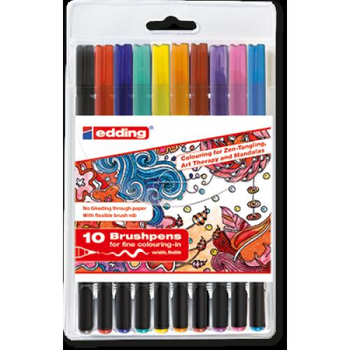 Набор маркеров-кисточек Edding (Эддинг) 1340 Zendoodle, 10 шт