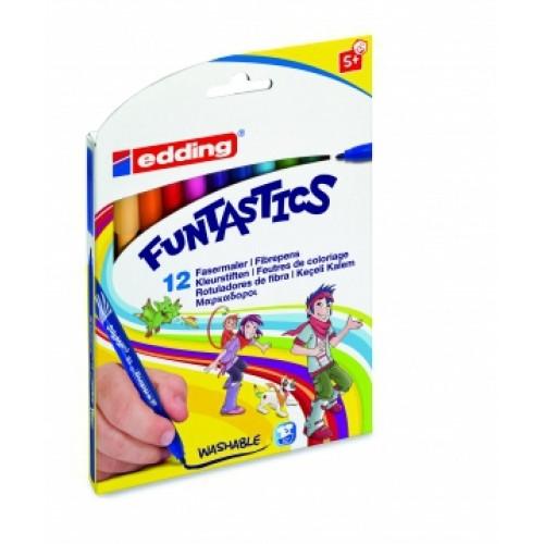 Набор фломастеров Edding (Эддинг) 15 Funtastics, круглый наконечник, 3 мм, картонная коробка, 12 шт/уп