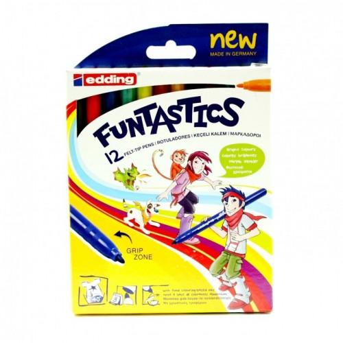 Набор фломастеров Edding (Эддинг) 15 Funtastics, 1 мм, 12 цветов, картонная коробка