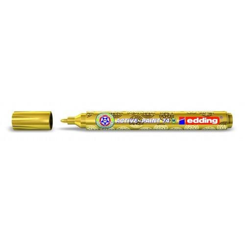 Маркер лаковый глянцевый Edding (Эддинг) 74, круглый наконечник, 1-2 мм, золотой 053