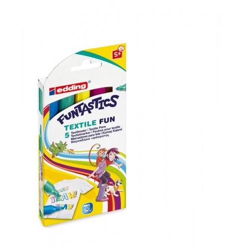 Набор фломастеров для текстиля Edding (Эддинг) 17 Funtastics, круглый наконечник, 2-3 мм, 5 цветов, картонная коробка
