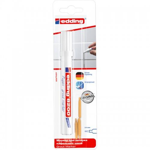 Маркер для затирки плиточных швов Edding (Эддинг) 8200, белый 049, promo, блистер