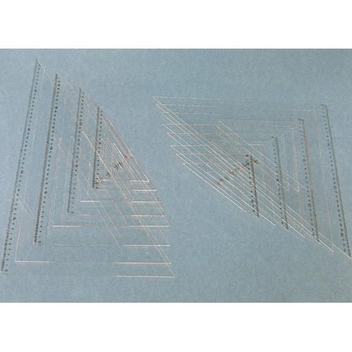 Угольник акриловый прозрачный Domingo Ferrer (Доминго Феррер), 45°/45°, 25 см, шкала 17 см, арт. DF123325