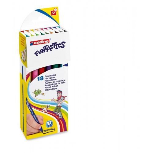 Набор фломастеров Edding (Эддинг) 15 Funtastics, 1 мм, 18 цветов, картонная коробка