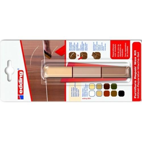 Воск промышленный для ремонта мебели Edding (Эддинг) 8902, бук-клен 611, 3 шт/уп, блистер, термо