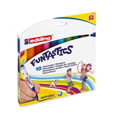 Набор маркеров для рисования Edding (Эддинг) 14 Funtastics, круглый наконечник, 3 мм, 10 цветов, картонная коробка